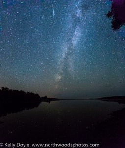 Two Island Lake Milky Way & Meteor