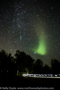 Ultramarathon Trail Runner, Superior 100, Northern Lights, Aurora Borealis, starry sky